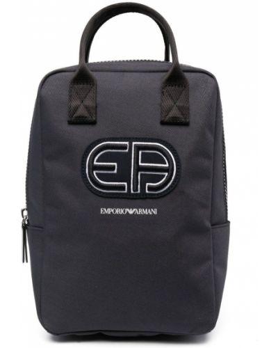 Niebieski plecak z haftem Emporio Armani Kids