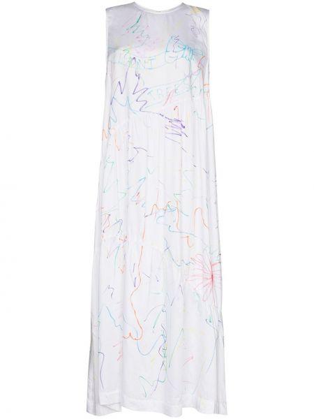 Długo sukienka okrągły bez rękawów z draperią okrągły dekolt Collina Strada