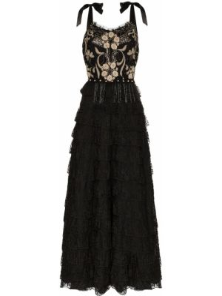 Ажурное платье с вышивкой на бретелях винтажное One Vintage