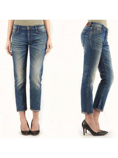 Хлопковые синие потертые джинсы бойфренды с открытой спиной Le Temps Des Cerises