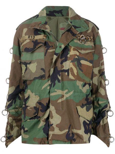 Зеленая куртка на молнии с карманами R13