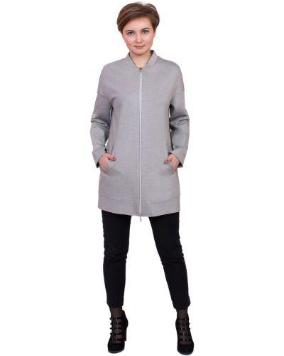 Прямой пиджак с воротником-стойка из вискозы с карманами J-splash