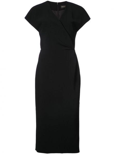 Черное платье миди с запахом Christian Siriano