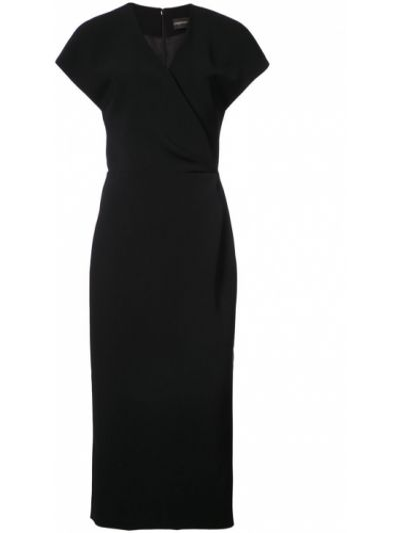 Платье миди на запах - черное Christian Siriano