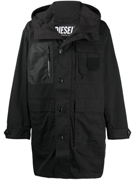 Черное пальто классическое с капюшоном на молнии Diesel