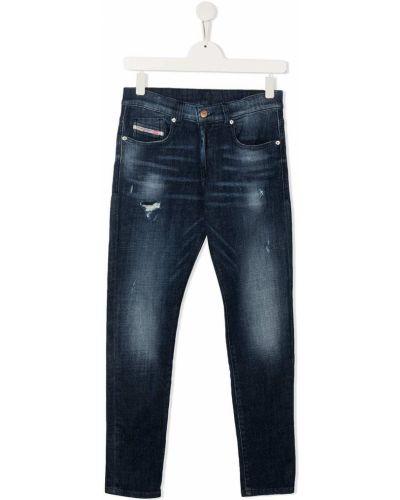 Синие зауженные джинсы-скинни с карманами Diesel Kids