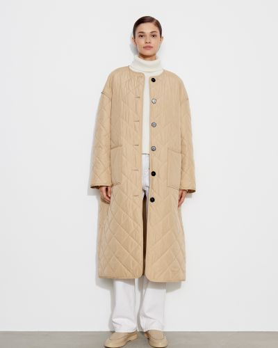 Стеганое пальто - бежевое 12storeez