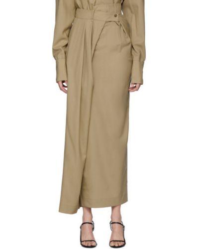Asymetryczny beżowy wełniany spódnica maxi z paskiem A.w.a.k.e. Mode