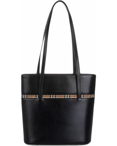 Парусиновая черная сумка на плечо на молнии с карманами Burberry Pre-owned
