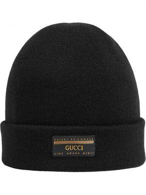 Wełniany czarny czapka zimowa z łatami rozciągać Gucci