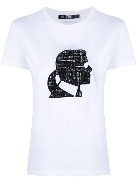 Белая футболка с вырезом с вышивкой Karl Lagerfeld