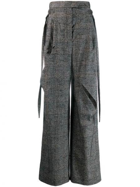 Шерстяные серые свободные брюки с поясом свободного кроя Litkovskaya
