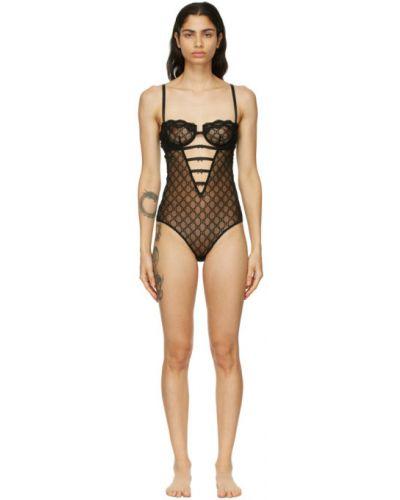 Czarny body tiulowy z haftem Gucci