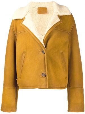 Długa kurtka z kieszeniami żółty Prada