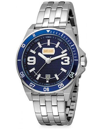 Серебряные кварцевые часы круглые с кварцем Just Cavalli
