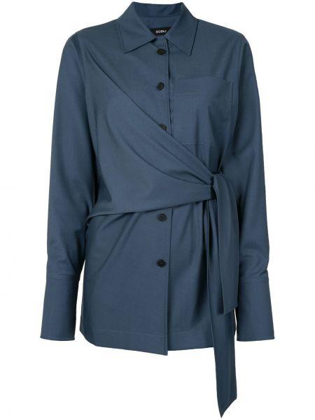 Синяя классическая рубашка с манжетами с воротником на пуговицах Goen.j