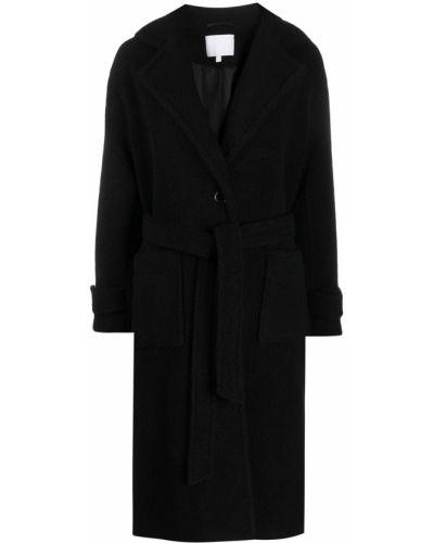 Шерстяное черное пальто с поясом Lala Berlin