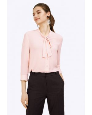 Блузка розовая с бантом Emka
