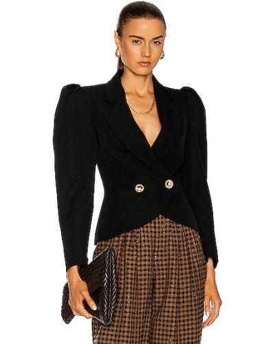 Флисовая черная куртка двубортная Alessandra Rich