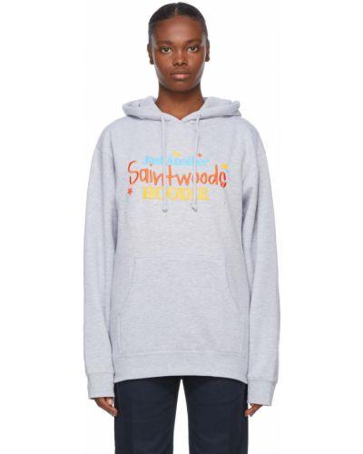 Bluza długa z kapturem z długimi rękawami bawełniana Saintwoods