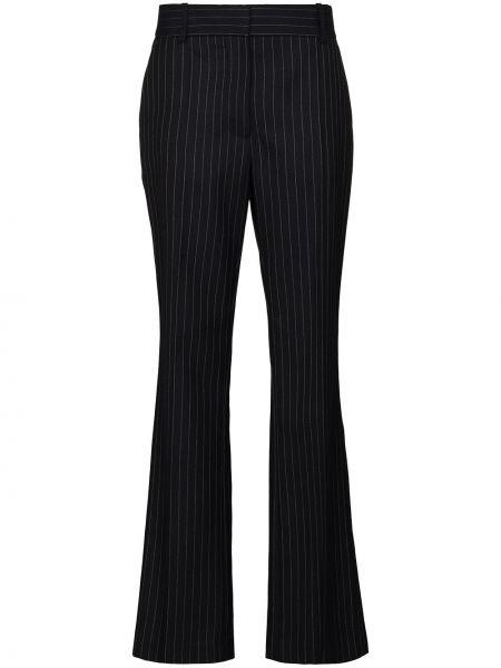 Синие брючные шерстяные брюки с высокой посадкой Victoria Beckham