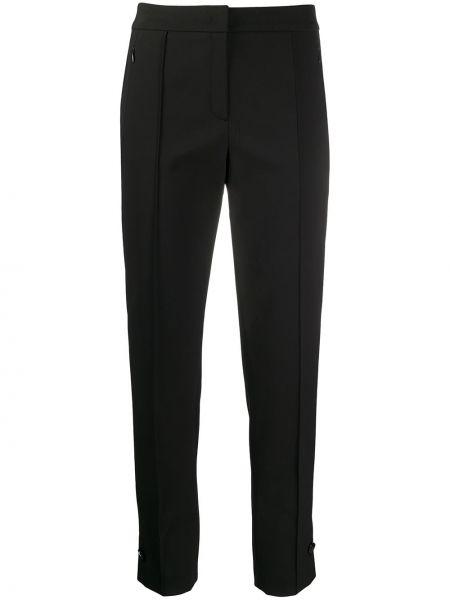 Черные прямые брюки с карманами с высокой посадкой Escada