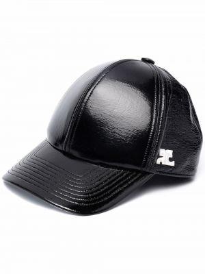 Czarna czapka z daszkiem Courreges