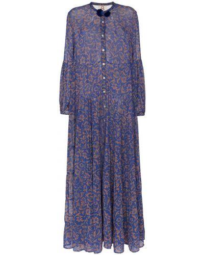 Шифоновое платье макси - синее Figue
