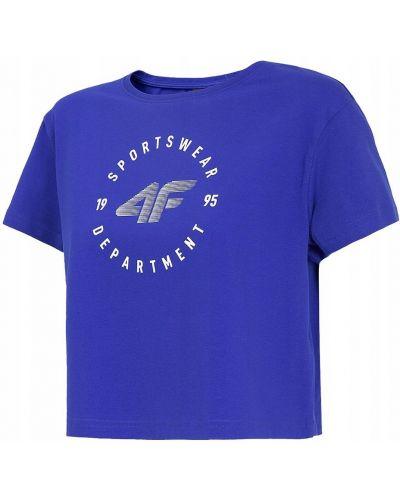 Niebieski bawełna t-shirt okrągły 4f