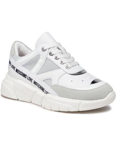Buty sportowe skorzane - białe Love Moschino