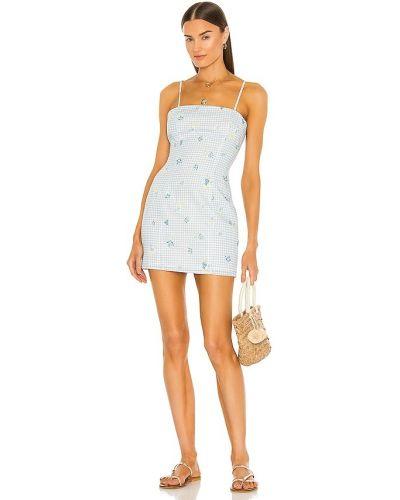Льняное синее платье с подкладкой Majorelle