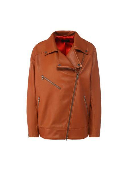Кожаная куртка длинная с карманами Maslov