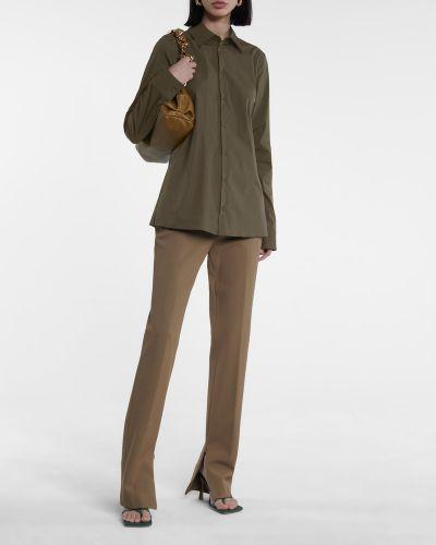 Хлопковая зеленая рубашка стрейч Bottega Veneta
