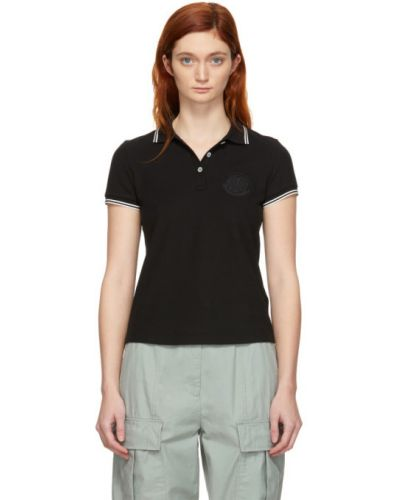 Bawełna czarny koszulka polo krótkie rękawy z haftem Moncler