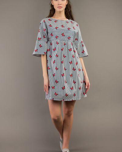 Платье макси в полоску с цельнокроеным рукавом ангелика