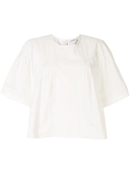 Bawełna biały bluzka z krótkim rękawem z haftem okrągły Anine Bing