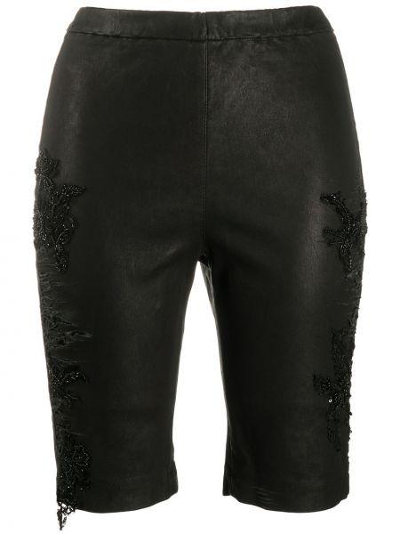 Кружевные черные кожаные шорты Almaz