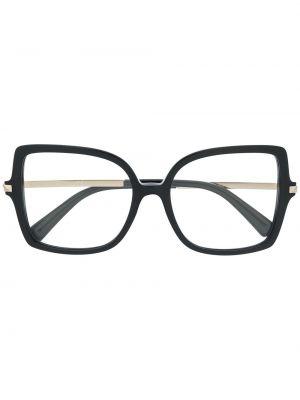Золотистые черные очки квадратные с декоративной отделкой Valentino Eyewear