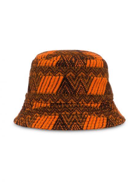 Brązowy kapelusz skórzany Prada