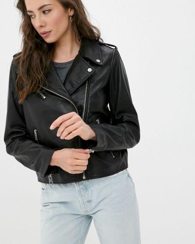 Черная кожаная куртка S.oliver