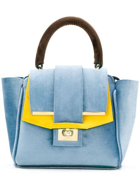 Бархатная синяя сумка-тоут Alila