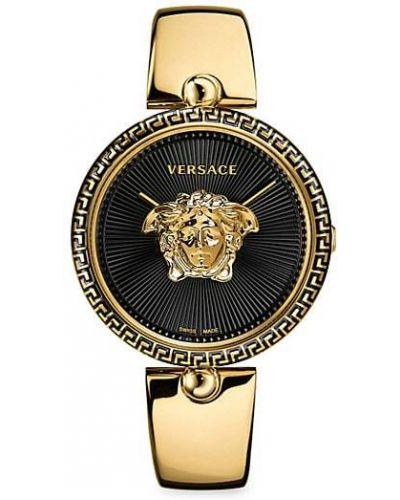 Серебряные кварцевые часы круглые c сапфиром Versace