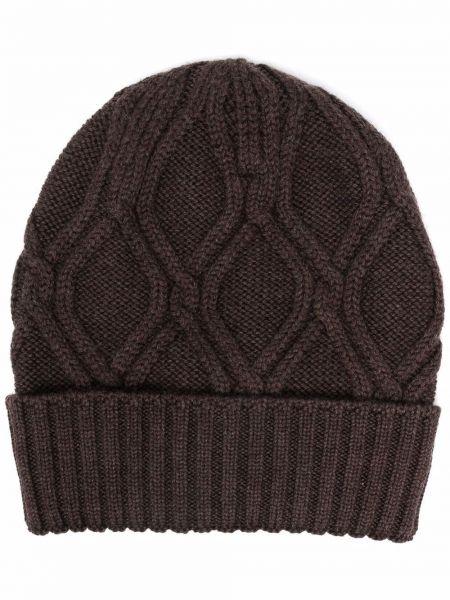 Brązowa czapka prążkowana Lardini