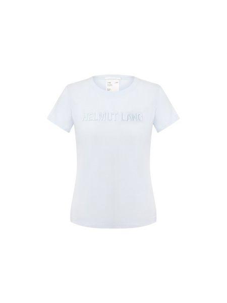 Хлопковая футбольная синяя футболка с вышивкой Helmut Lang