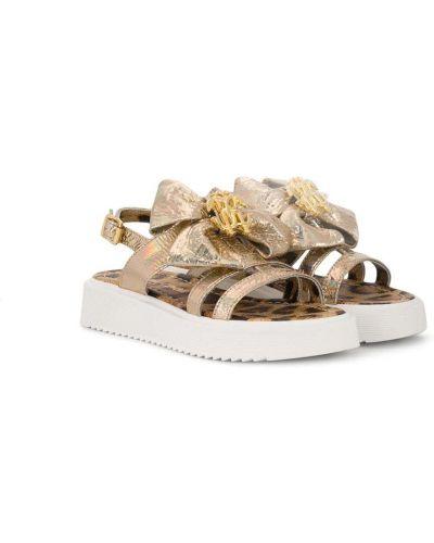 Золотистые с ремешком кожаные сандалии Roberto Cavalli Junior