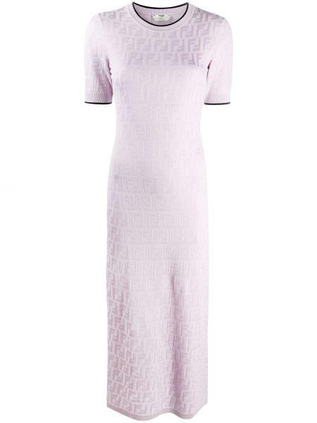 Приталенное фиолетовое вязаное платье миди Fendi
