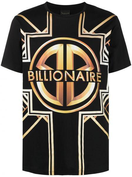 Хлопковая с рукавами черная рубашка Billionaire