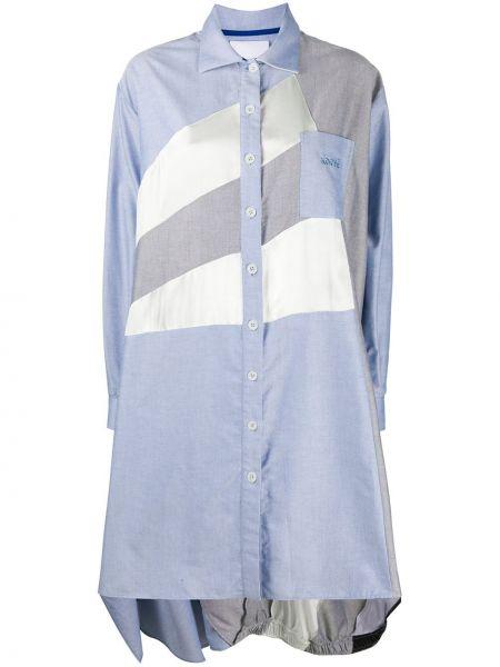 С рукавами синее платье макси с вышивкой Koché