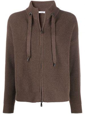 Brązowy z kaszmiru sweter z długimi rękawami Peserico
