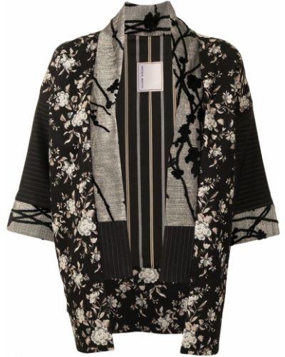 Bawełna czarny kimono z haftem Antonio Marras
